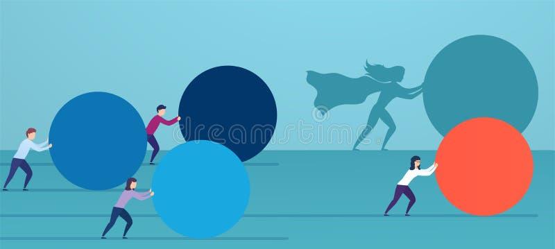 O super-her?i da mulher de neg?cio empurra a esfera vermelha, alcan?ando concorrentes Conceito da estrat?gia de vencimento, efici ilustração do vetor