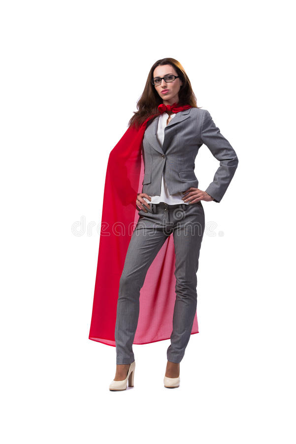 O superwoman novo isolado no branco fotografia de stock royalty free