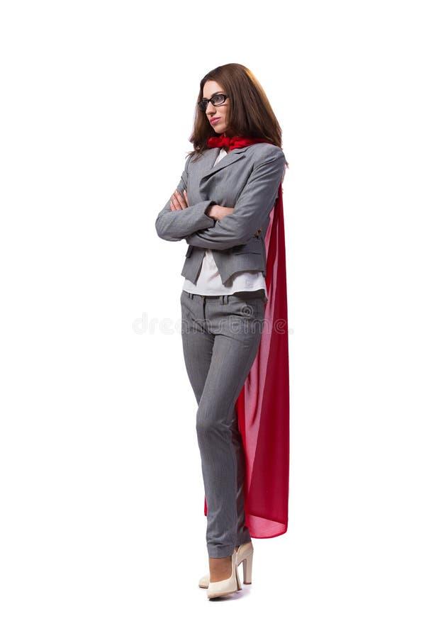 O superwoman novo isolado no branco fotografia de stock