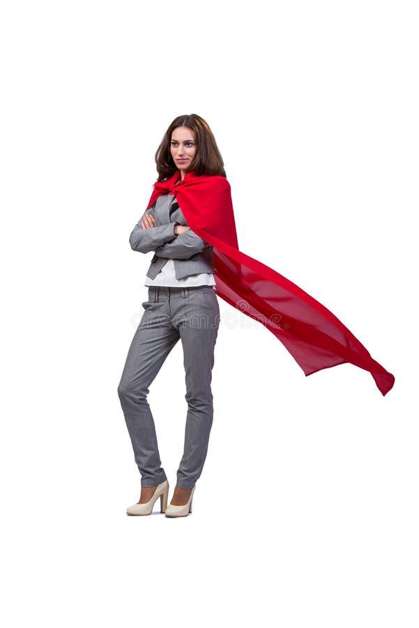 O superwoman novo isolado no branco imagem de stock royalty free