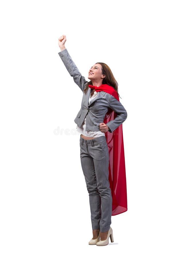 O superwoman novo isolado no branco foto de stock