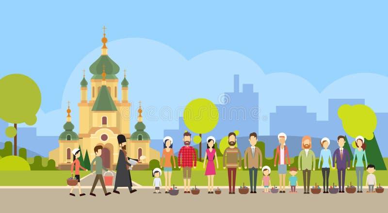 O suporte do grupo dos povos na linha, igreja de Blessing Easter Basket do padre, consagra bolos, feriado feliz dos ovos ilustração royalty free