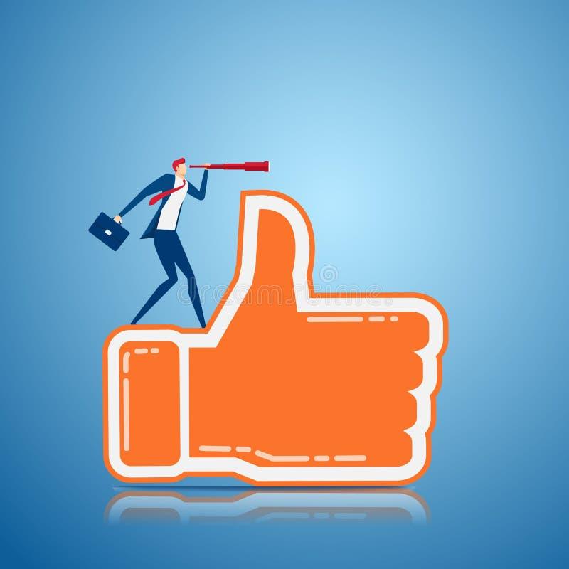 O suporte do homem de negócios no polegar acima do sinal usando o telescópio que procura o sucesso da reação positiva, oportunida ilustração royalty free