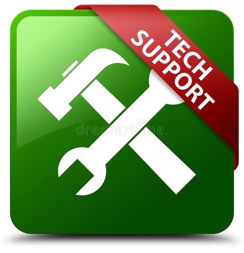 O suporte técnico utiliza ferramentas o botão quadrado verde do ícone ilustração do vetor