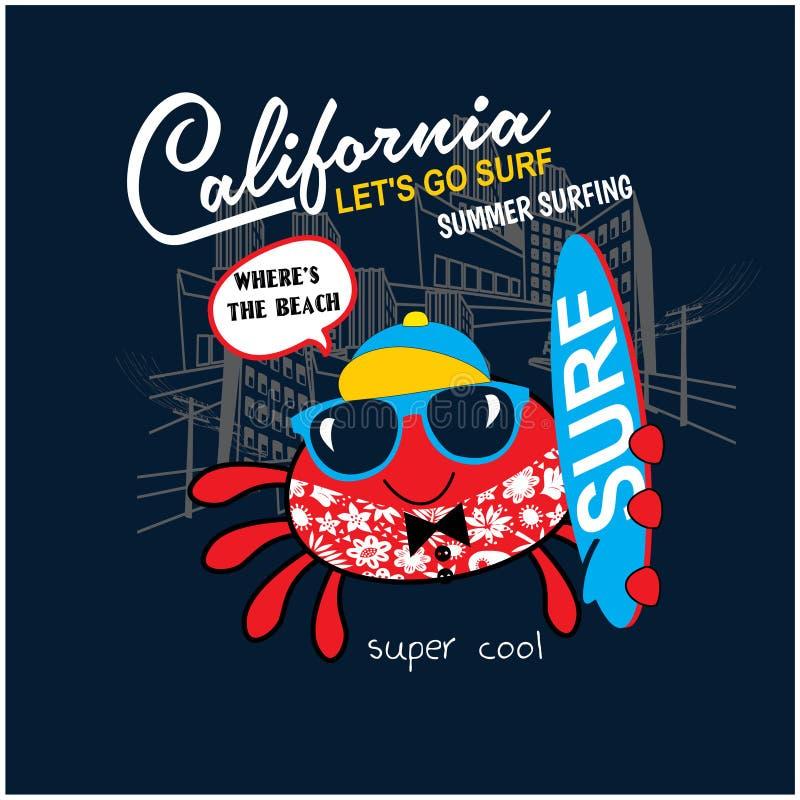 O surfista fresco do caranguejo, cópia do vetor para crianças veste nas cores feitas sob encomenda, efeito do grunge na camada se ilustração stock