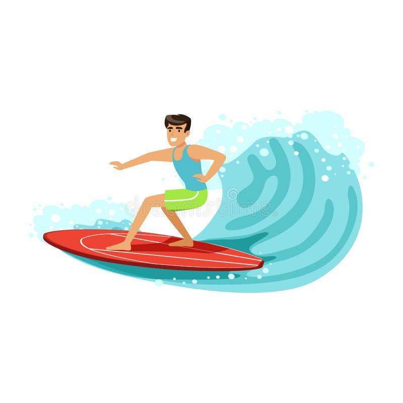 O surfista masculino alegre que monta uma onda grande, molha o esporte extremo, ilustração do vetor das férias de verão ilustração stock