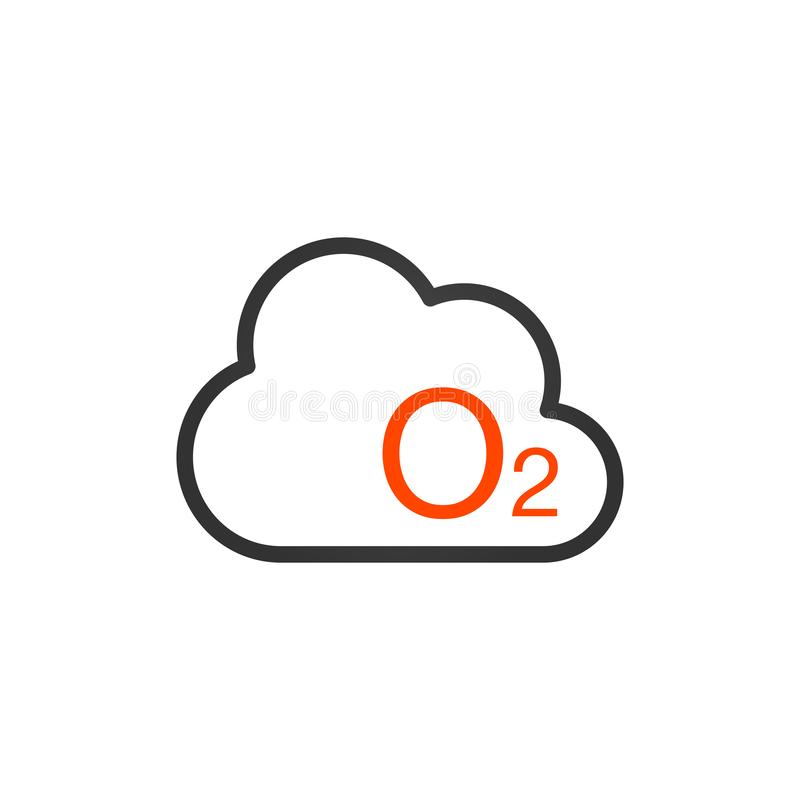 O2 symbol - symbol för vektorsyretecken Naturillustration som isoleras på vit bakgrund stock illustrationer