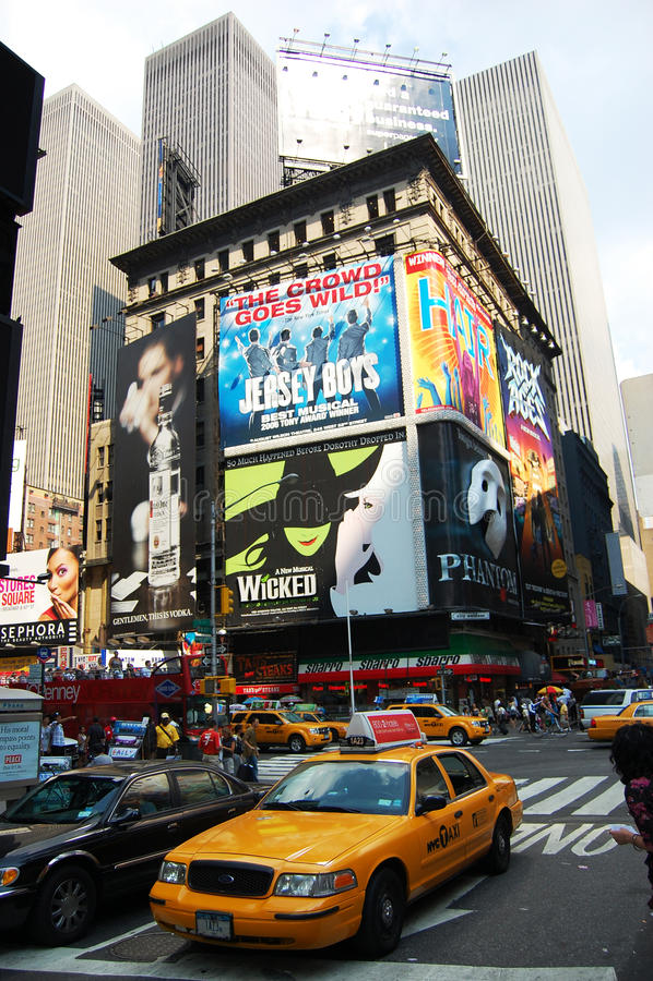 O táxi esquadra às vezes em NYC fotografia de stock