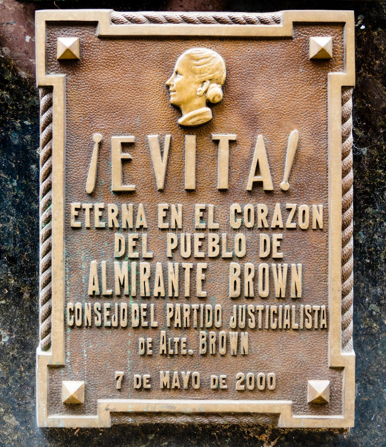 O túmulo de Maria Eva Duarte de Peron imagens de stock