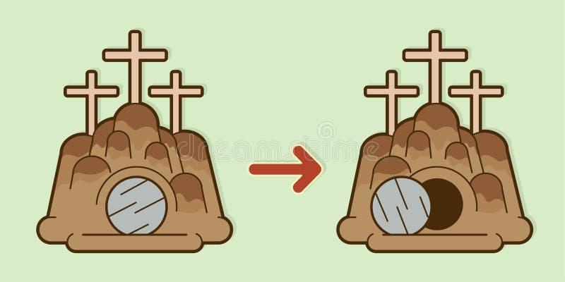 O túmulo do gráfico de pedra da caverna de Jesus ilustração royalty free