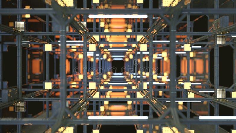 O túnel com construção 3D do metal rende ilustração do vetor
