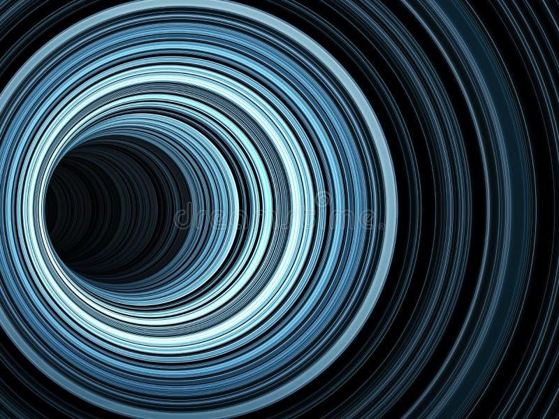 O túnel escuro dos anéis azuis de incandescência, 3d rende ilustração royalty free