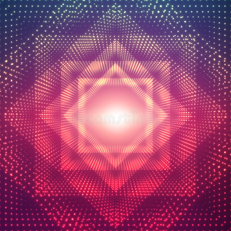O túnel poligonal infinito do vetor do brilho alarga-se no fundo violeta Setores de incandescência do túnel do formulário dos pon ilustração do vetor