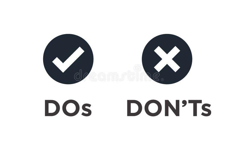 O ` t faça e de Don ou bons e ícones maus com o Sy positivo e negativo ilustração do vetor