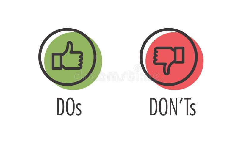 O ` t faça e de Don ou gostam e ao contrário dos ícones w positivos e de Sy negativo ilustração royalty free
