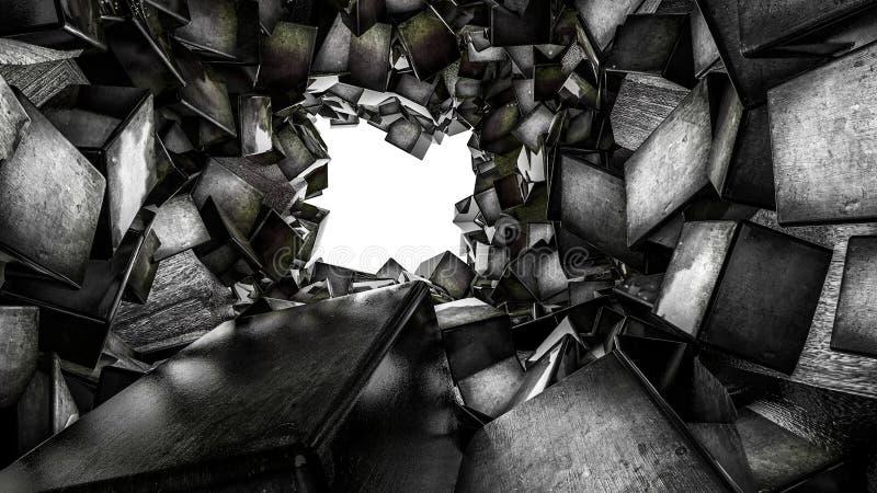 O t?nel ? alinhado com os cubos tridimensionais escuros lustrosos Sum?rio rendi??o 3d ilustração stock