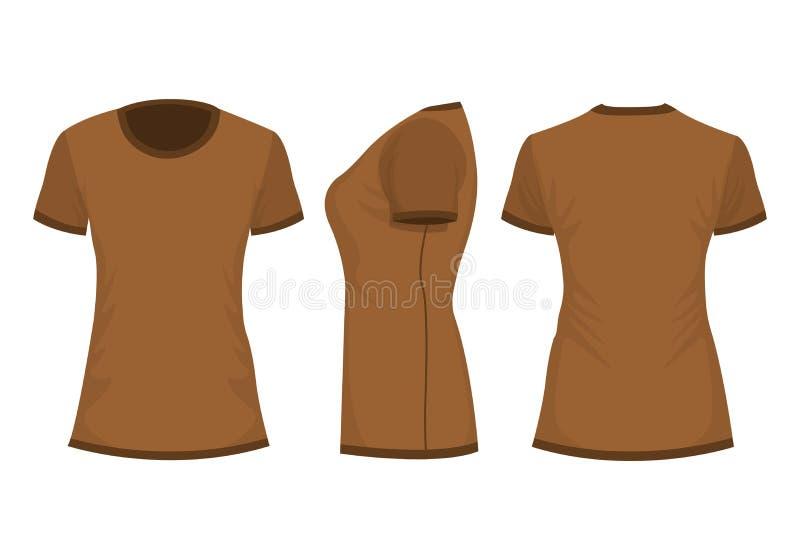 O t-shirt da mulher de Brown ilustração stock