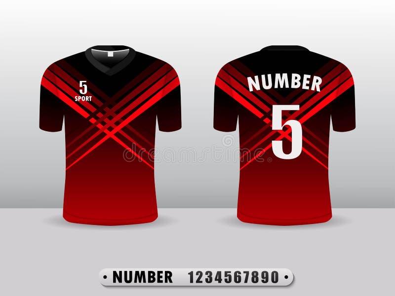 O t-shirt do projeto da camisa do futebol ostenta a cor preta e vermelha Inspirado pelo sumário Vista dianteira e parte traseira ilustração royalty free