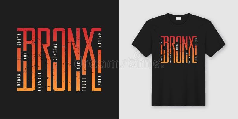 O t-shirt e o fato à moda de Bronx projetam, tipografia, cópia, ilustração stock
