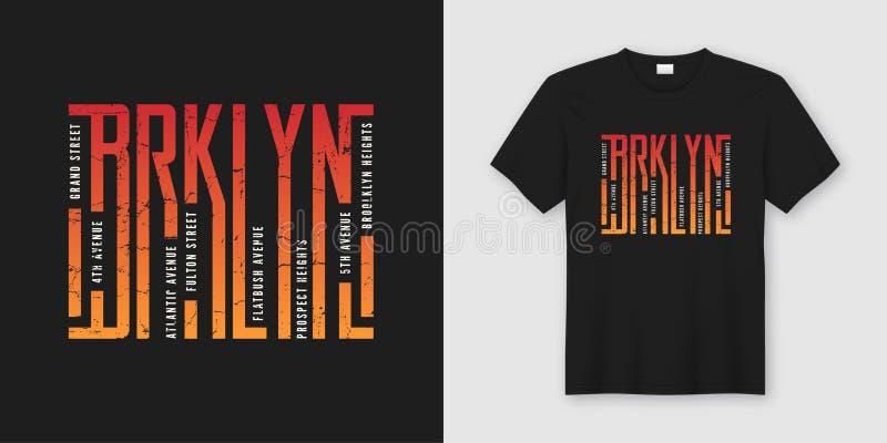 O t-shirt e o fato à moda de Brooklyn projetam, tipografia, cópia, ilustração do vetor