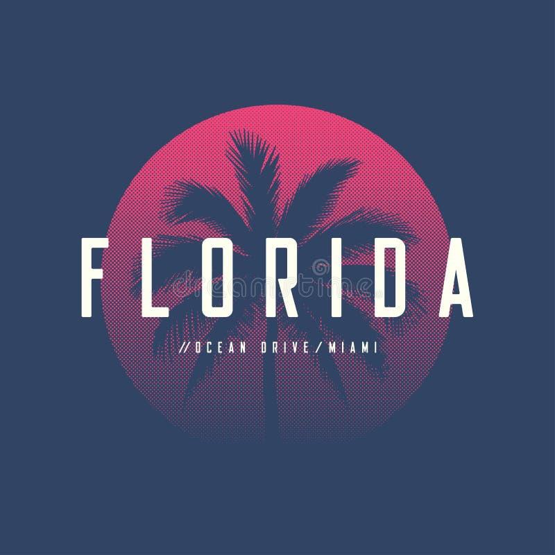 O t-shirt e o fato da movimentação do oceano de Florida Miami projetam com palma t ilustração royalty free