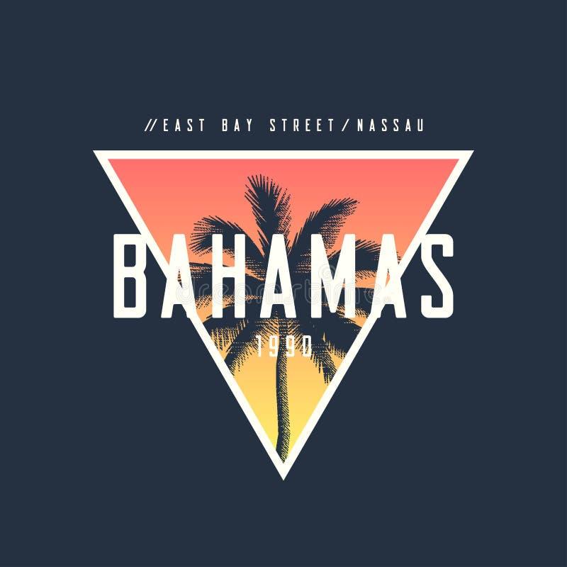 O t-shirt e o fato de Nassau do Bahamas projetam com palmeira áspera, ilustração stock