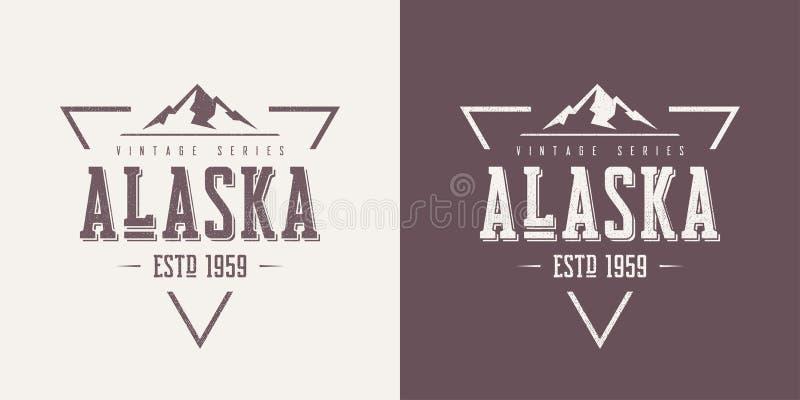 O t-shirt e o fato textured estado do vetor do vintage de Alaska projetam, ilustração do vetor