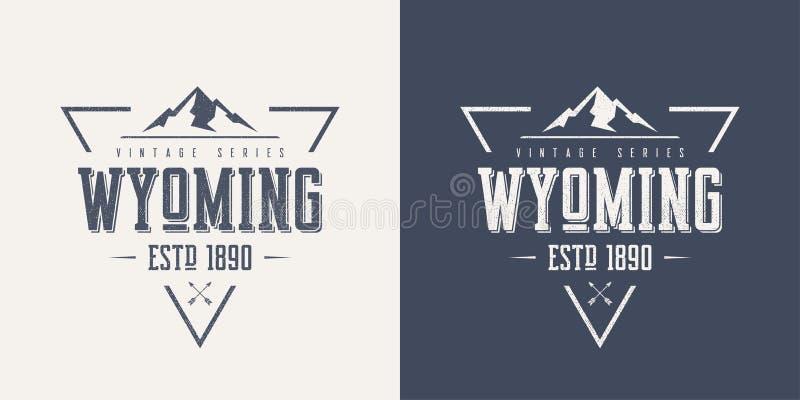 O t-shirt e o fato textured estado do vetor do vintage de Wyoming projetam ilustração do vetor