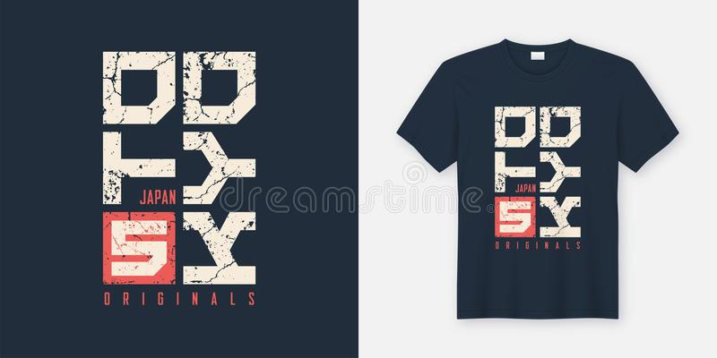 O t-shirt e o fato textured Japão do Tóquio projetam, a tipografia, pri ilustração stock