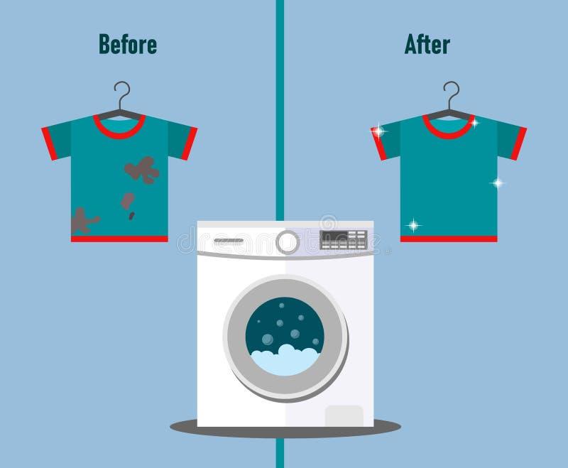O t-shirt está sujo antes de lavar e limpa após o lavagem com a imagem de uma máquina de lavar ao estilo do plano ilustração stock
