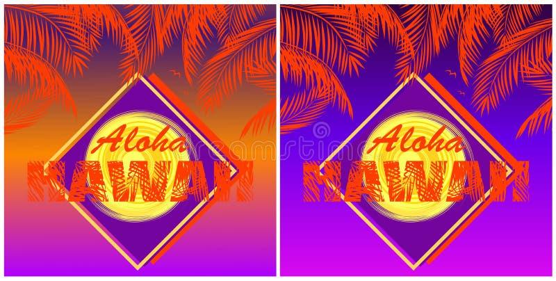 O t-shirt imprime a variação com rotulação de Aloha Hawaii, folhas de palmeira alaranjadas do coco e o sol amarelo no por do sol  ilustração do vetor