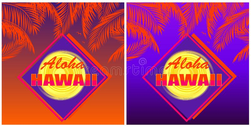 O t-shirt imprime a variação com rotulação de Aloha Hawaii, folhas de palmeira do coco e o sol alaranjados no por do sol e no fun ilustração do vetor