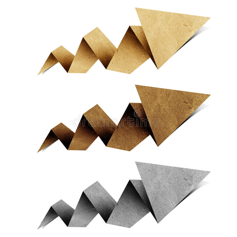 O Tag do origami da seta recicl o ofício de papel fotos de stock royalty free