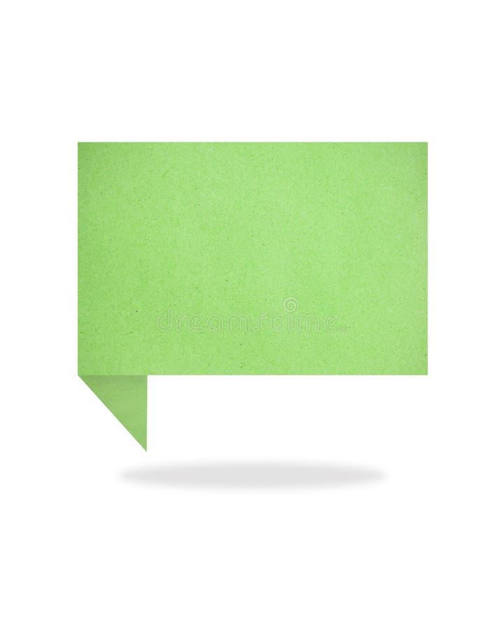 O Tag verde da conversa do origami recicl a vara do ofício de papel imagem de stock royalty free