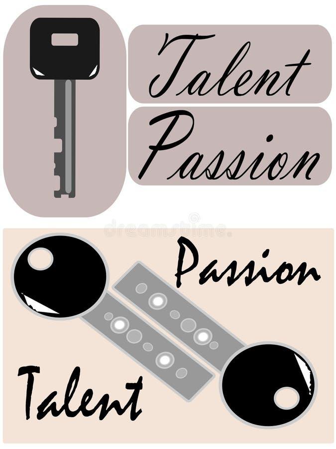 O talento e a paixão são as chaves ilustração royalty free