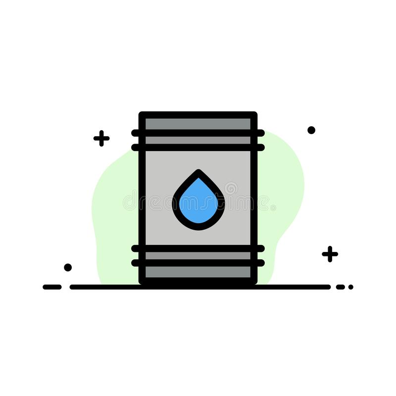 O tambor, óleo, combustível, flamable, linha lisa do negócio de Eco encheu o molde da bandeira do vetor do ícone ilustração do vetor