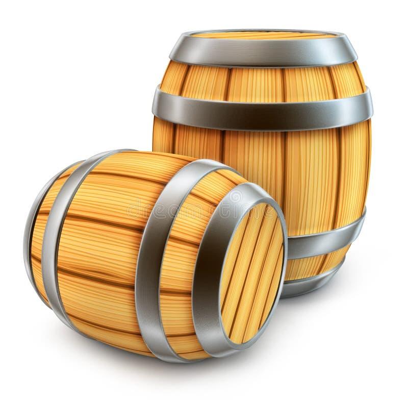 O tambor de madeira para o armazenamento do vinho e da cerveja isolou-se ilustração do vetor