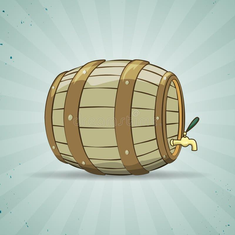 O tambor de madeira velho encheu-se com o vinho natural ou ilustração royalty free