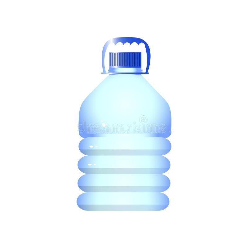 O tambor plástico grande da garrafa de água deu forma ao projeto com o trajeto de grampeamento isolado no fundo branco ilustração royalty free