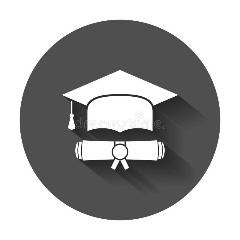 O tampão e o diploma da graduação enrolam a ilustração do vetor do ícone no estilo liso ilustração royalty free