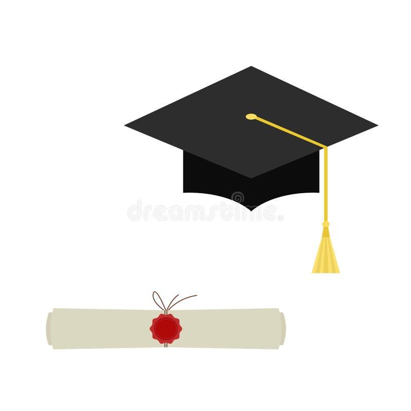 O tampão e o diploma pretos da graduação enrolam o ícone da Web isolado sobre ilustração stock