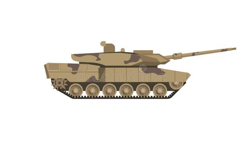 O tanque militar da cor da camuflagem isolou a ilustração dos desenhos animados ilustração do vetor