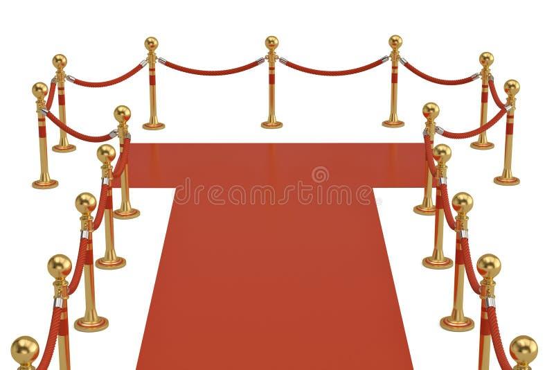 O tapete vermelho e a barreira rope no fundo branco ilustração 3D ilustração do vetor