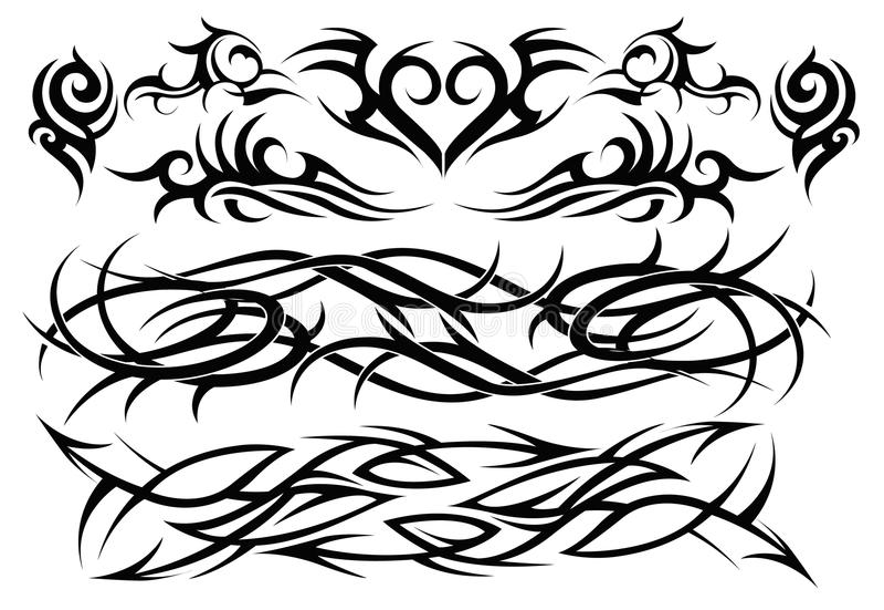 O tatuagem tribal ajustou dois ilustração stock