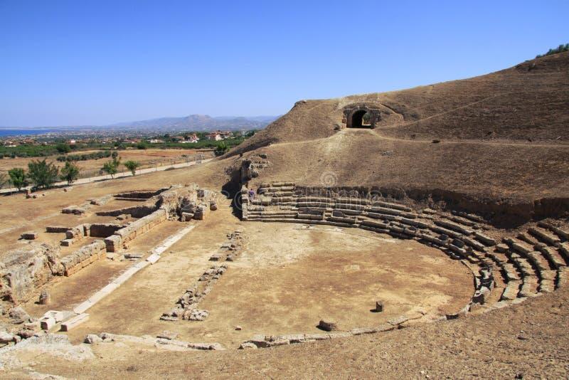 O teatro antigo de Sicyon, Grécia fotos de stock royalty free