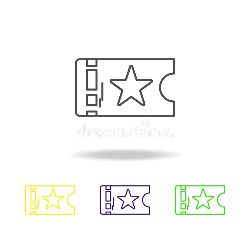 O teatro do bilhete coloriu ícones Elemento da ilustração do teatro Sinais e ícone para Web site, design web dos símbolos, app mó ilustração royalty free