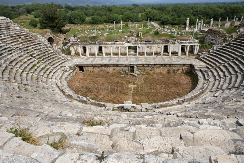 O teatro dos Aphrodisias cidade antiga, Aydin, Turquia foto de stock