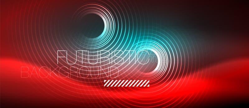 O techno de incandescência do néon alinha, molde abstrato futurista do fundo da olá!-tecnologia com formas quadradas ilustração royalty free