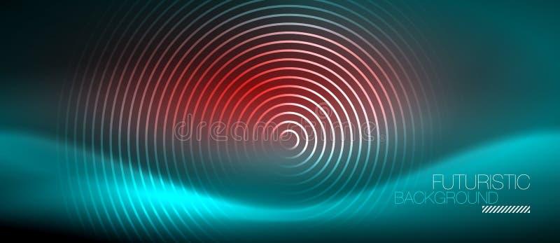 O techno de incandescência do néon alinha, molde abstrato futurista do fundo da olá!-tecnologia com formas quadradas ilustração do vetor