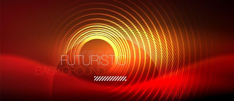 O techno de incandescência do néon alinha, molde abstrato futurista do fundo da olá!-tecnologia com formas quadradas ilustração stock